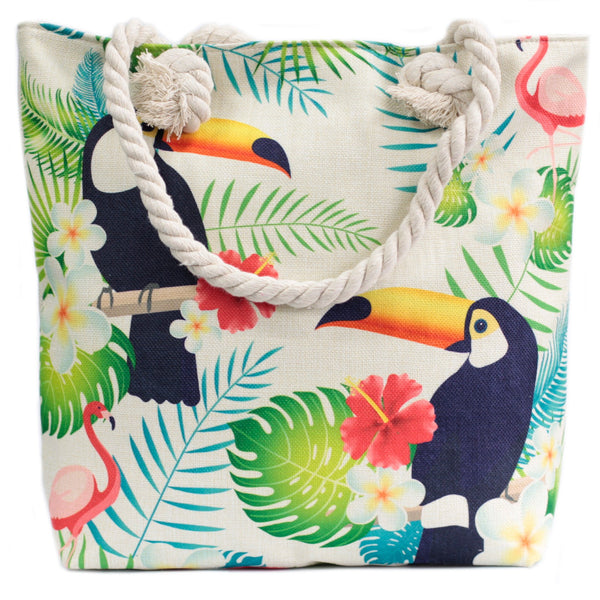 Tropical Toucan Tote Bag with Rope Handles
