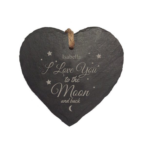 To The Moon & Back Hanging Heart Slate