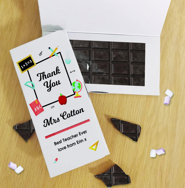 Thank You Teacher Dark Chocolate Card - Vegan