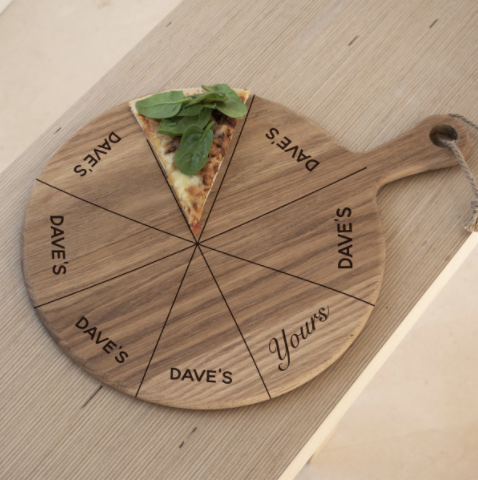 Personalised 'Mine' & 'Yours' Pizza Board - Designed in England