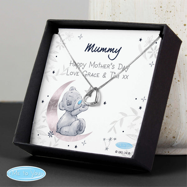 Personalised Moon & Stars Me To You Sentiment Silver Tone Necklace and Box