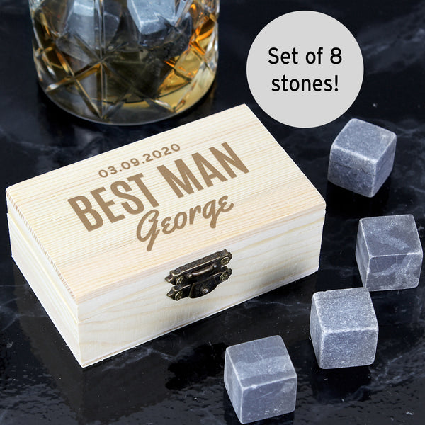 Personalised Wooden Box with Whisky Stones