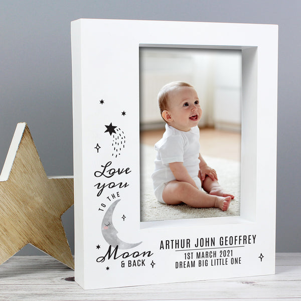 Personalised Baby To The Moon and Back 7x5 Box Photo Frame