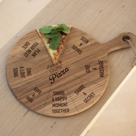 Personalised Romantic Game Pizza Board - Designed in England