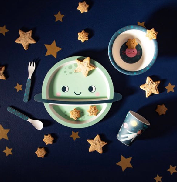 Children's Planet Themed Space Explorer Bamboo Dinner Set