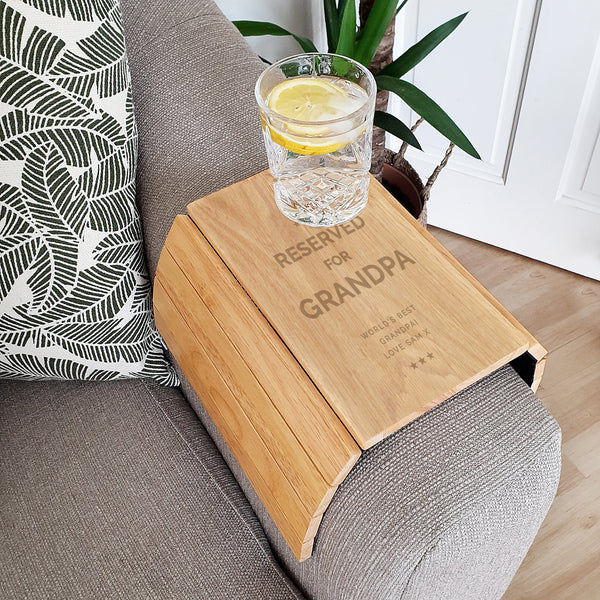 Personalised Reserved For Wooden Sofa Tray