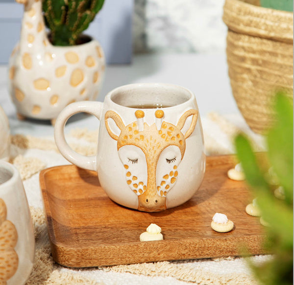 Rustic Stoneware Effect Giraffe Themed Ceramic Mug