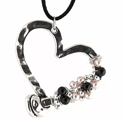 NC4404IP Wrapped Silver Heart Necklace