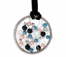 NC4441 Foating Pearls Round Pendant