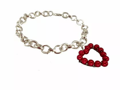 B2418IP Beaded Heart Charm Bracelet