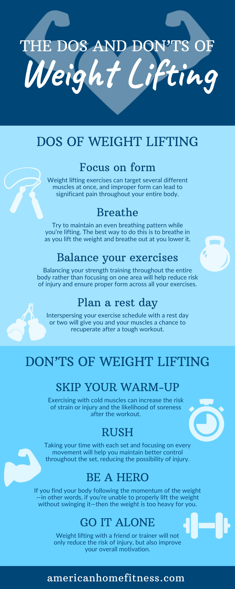 The Dos and Don'ts of Weight Lifting infographic