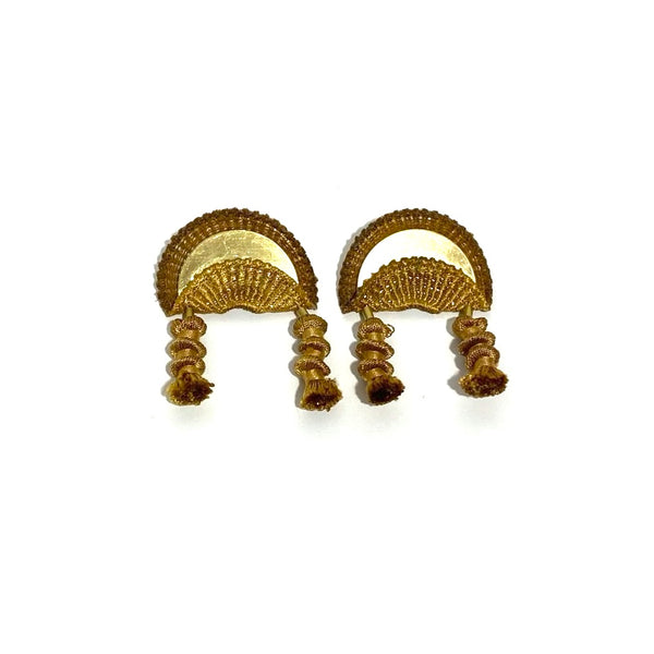 'Ripple Effect Stud Drop Earrings' Mustard