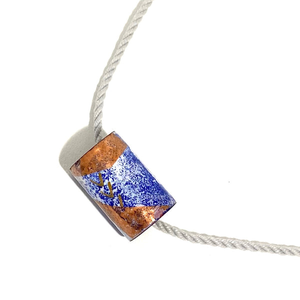 'Enamel Tube on Cord Necklace'