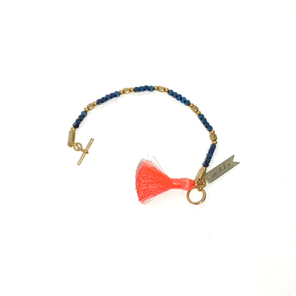 'Metallic beads with Orange Tassel Bracelet'
