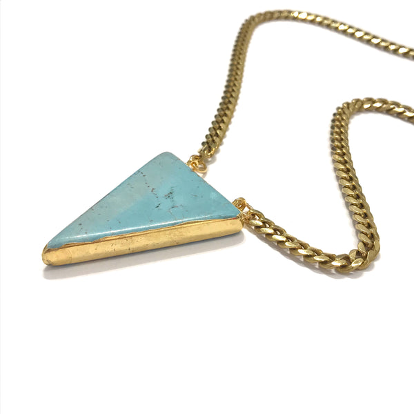 'Turquoise Triangle Short Necklace'