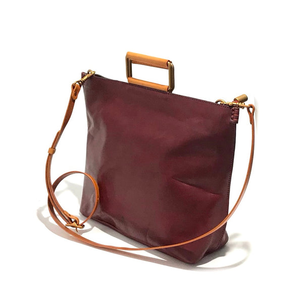 'Joy Handle Bag Large' Oxblood