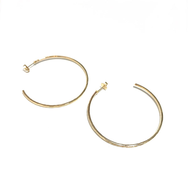 'Hammered Hoop Studs' Yellow Gold Fill