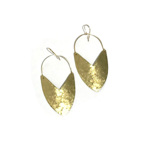 'Goddess Shield Earrings' Large Brass