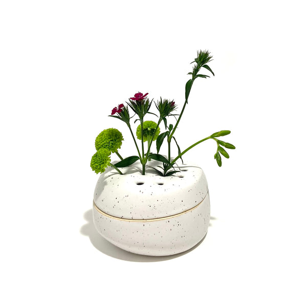 'Lidded Ikebana Vase' White Speckled