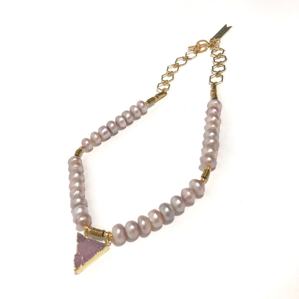 'Purple Pearls with Druzy Crystal' Necklace