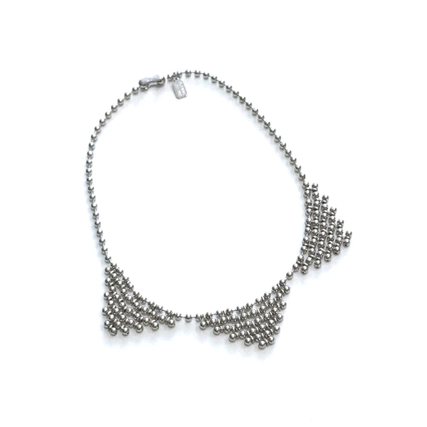 'Triple Bib Necklace' Rhodium