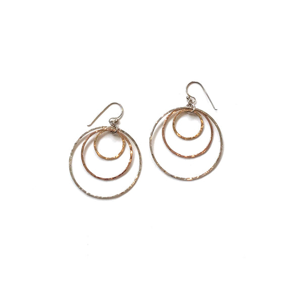 'Trimetal Hoop Earrings' Silver, Rose & Yellow Gold