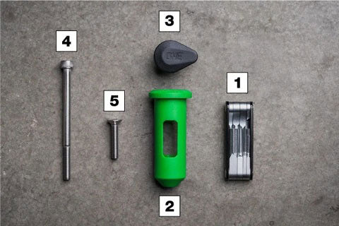 OneUp Components EDC Lite Kit Numbered Pieces