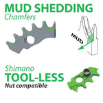 OneUp Components Nw Chainring Features Mud Shedding Shimano Tool Less Nut Chainrings Infographic