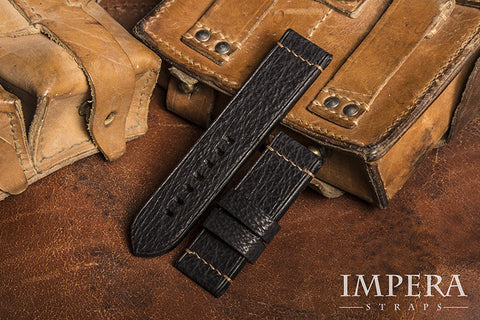 Genuine Black Shark Leather Minimal Stitched Watch Strap