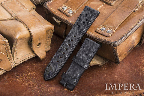 Genuine LV Taiga Black Leather Watch Strap