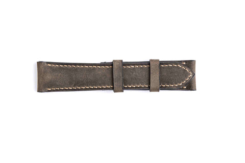 Genuine Dark Brown Pull Up Calf Leather Watch Strap