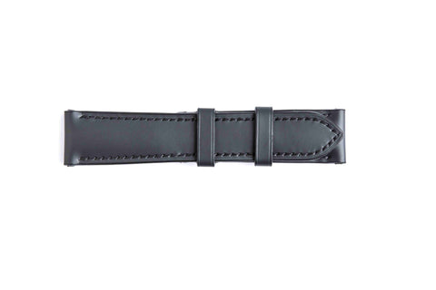 Rubberized Matte Charcoal Grey Genuine Calf Leather Watch Strap