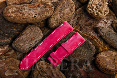 Nubuck Surface Genuine Pink Calf Leather Watch Strap