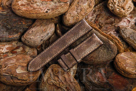 Genuine Brown Karung Snake Skin Watch Strap