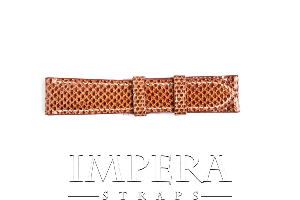 Genuine Dark Orange Karung Snake Skin Watch Strap
