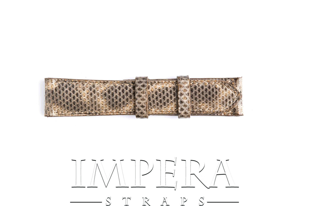 Genuine Dark Natural Brown Karung Snake Skin Watch Strap