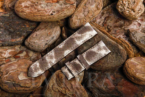 Genuine Dark Natural Karung Snake Skin Watch Strap