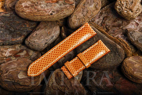 Genuine Light Orange Karung Snake Skin Watch Strap