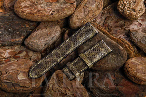 Genuine Darker Olive Green Karung Snake Skin Watch Strap