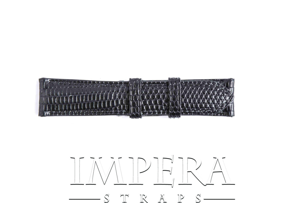 Genuine Black Teju Lizard Skin Watch Strap