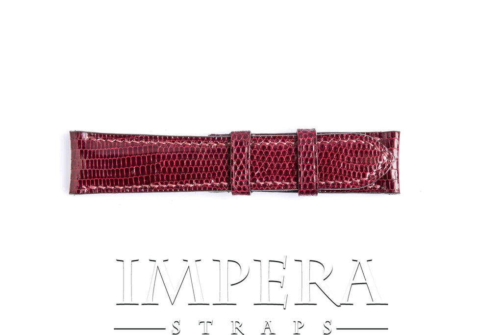 Genuine Cherry Lizard Skin Watch Strap