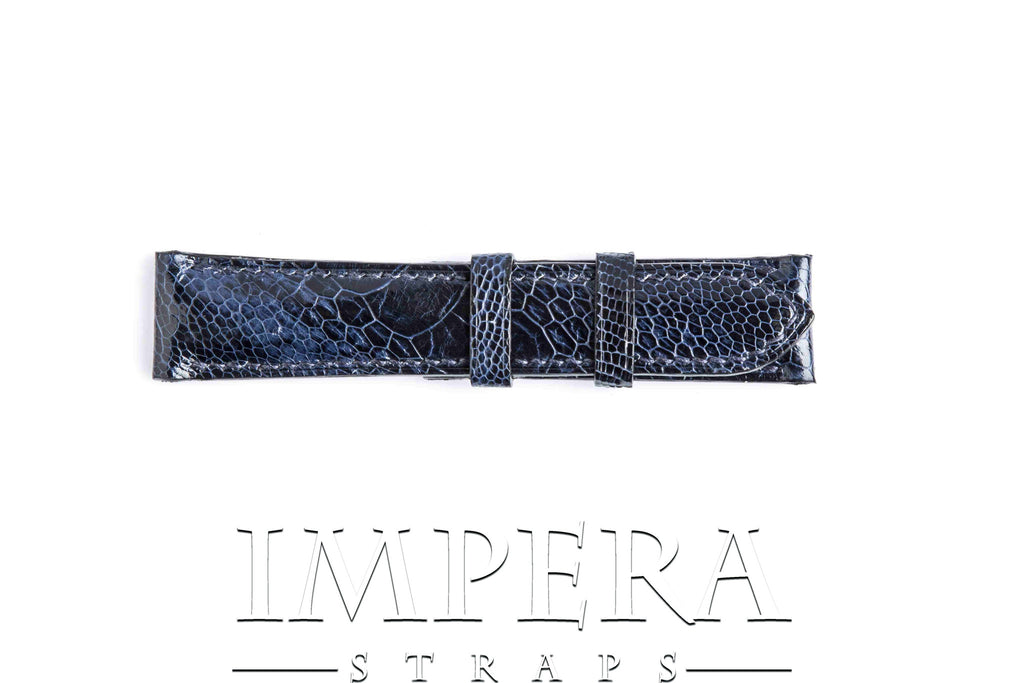 Genuine Dark Blue Ostrich Leg Watch Strap