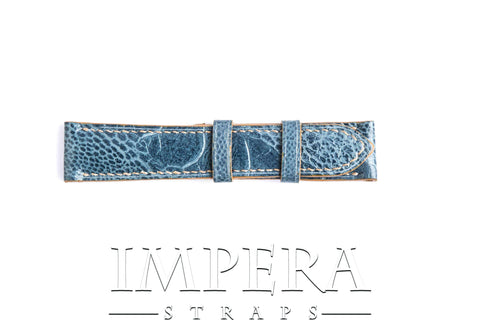 Genuine Denim Blue Ostrich Leg Skin Watch Strap