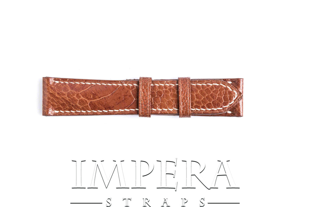 Genuine Tobacco Brown Ostrich Leg Watch Strap