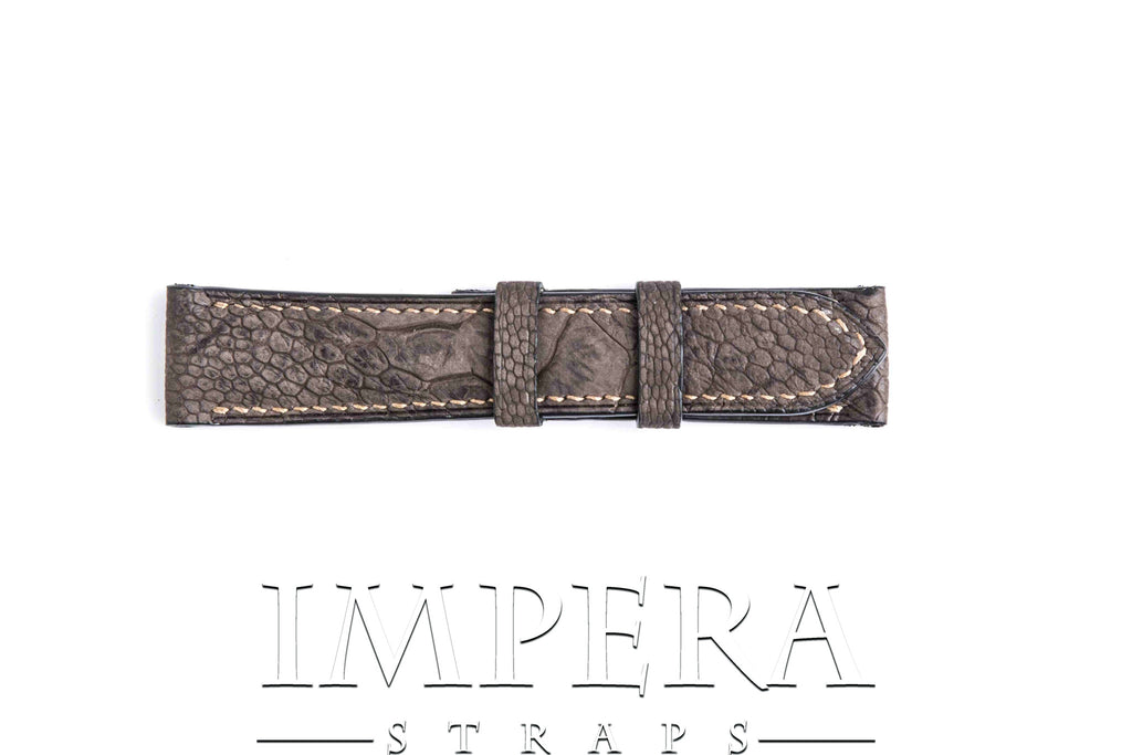 Genuine Nubuck Brown Ostrich Leg Watch Strap