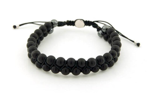 Onyx Bracelet Single Row Black Stone