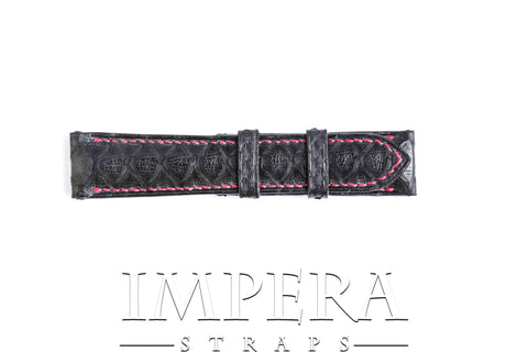 Genuine Black Python Skin Watch Strap Rouge Red Stitching