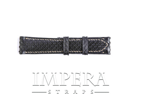 Genuine Black Python Skin Small Pattern Watch Strap