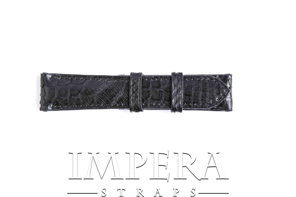 Genuine Black Python Skin Mixed Pattern Watch Strap