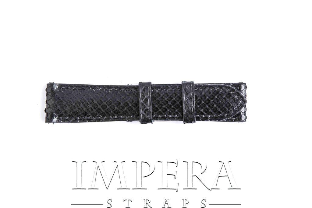 Black Python Skin Small Pattern Watch Strap Black Stitching